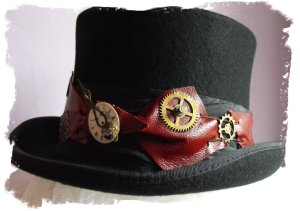 dark brown-red leather Cogs Away Steampunkers