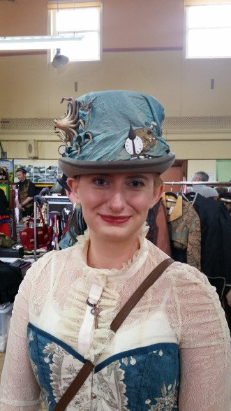front view of kraken steampunk top hat