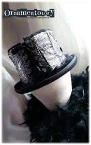 Steampunk black top hat with corset detail size 7 (57cm)