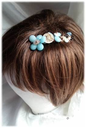 Semi Prescious stone Flowers &S teampunk inspired Hair comb Blue quartz & Morganite with Cogage  £15