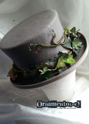 Grey top hat with Ivy and twisted wire detail Size 6 3/4 £52 + p&p