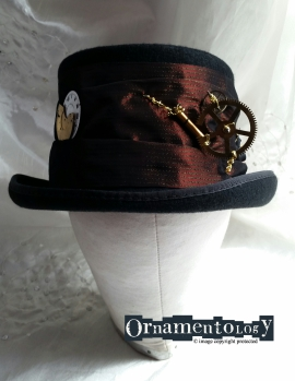 Steampunk top hat with vintage clock parts